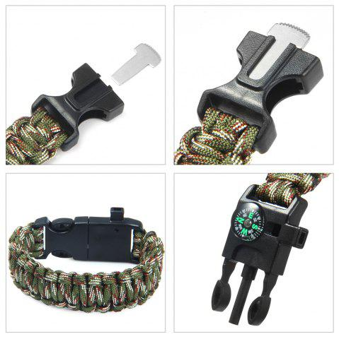Best 5 in 1 Outdoor Survival Gear Escape Paracord Bracelet Flint / Whistle / Compass / Scraper - CAMOUFLAGE COLOR  Mobile