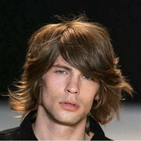 Outfits Stylish Inclined Bang Medium High Temperature Fiber Deep Brown Capless Fluffy Wavy Wig For Men DEEP BROWN