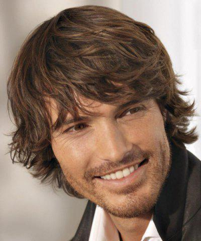 Trendy Handsome Brown Capless Short Inclined Bang Fluffy Wavy High Temperature Fiber Wig For Men