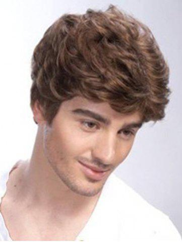 Outfit Shaggy Curly Brown Fashion Heat Resistant Synthetic Short Capless Side Bang Wig For Men SHALLOW FLAXEN
