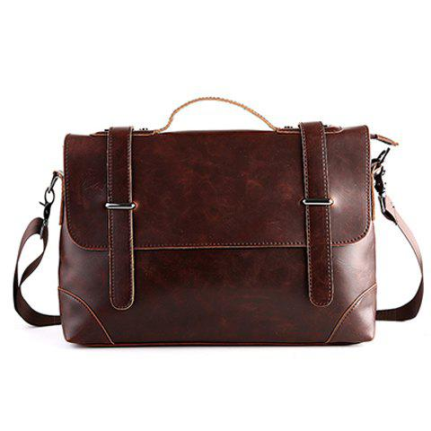 Best Retro Stitching and Solid Color Design Men's Briefcase