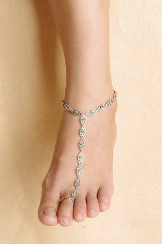 Store Vintage Flower Hollow Out Anklet SILVER