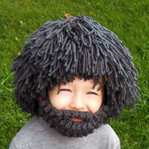 Outfit Woolen Yarn Imitated Wig Knitted Beard Face Hat For Men and Women - GRAY  Mobile