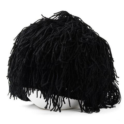 Discount Woolen Yarn Imitated Wig Knitted Beard Face Hat For Men and Women - BLACK  Mobile