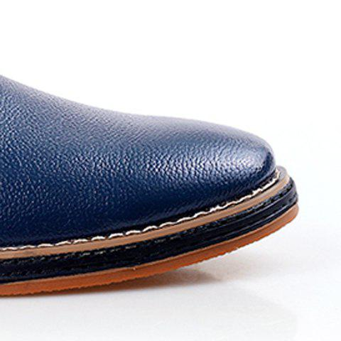 Latest Simple Style Round Toe and Solid Color Design Men's Formal Shoes - 43 BLUE Mobile