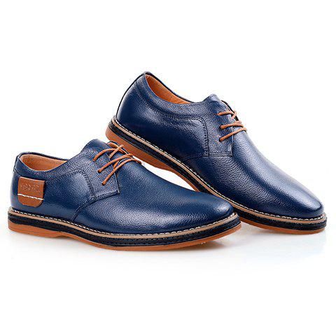 Chic Simple Style Round Toe and Solid Color Design Men's Formal Shoes - 43 BLUE Mobile