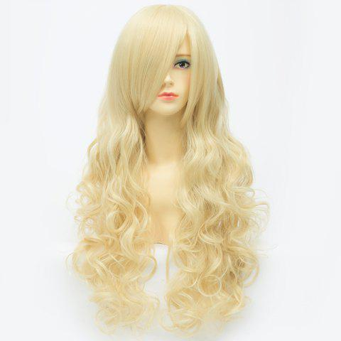 Extra Long Synthetic Shaggy Wavy Charming Capless Inclined Bang Trendy Anime Cosplay Wig - LIGHT GOLD