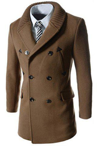 Store Knitted Lapel PU Leather Spliced Multi-Button Slimming Long Sleeves Men's Woolen Blend Thicken Peacoat CAMEL XL