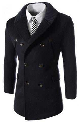 Discount Knitted Lapel PU Leather Spliced Multi-Button Slimming Long Sleeves Men's Woolen Blend Thicken Peacoat CADETBLUE L