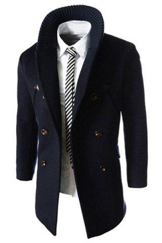 Discount Knitted Lapel PU Leather Spliced Multi-Button Slimming Long Sleeves Men's Woolen Blend Thicken Peacoat - XL CADETBLUE Mobile