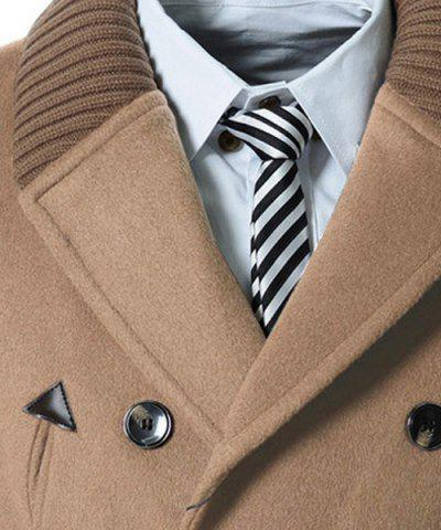 Unique Knitted Lapel PU Leather Spliced Multi-Button Slimming Long Sleeves Men's Woolen Blend Thicken Peacoat - XL LIGHT CAMEL Mobile