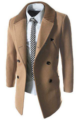 Trendy Knitted Lapel PU Leather Spliced Multi-Button Slimming Long Sleeves Men's Woolen Blend Thicken Peacoat - XL LIGHT CAMEL Mobile