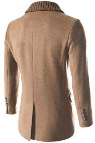Buy Knitted Lapel PU Leather Spliced Multi-Button Slimming Long Sleeves Men's Woolen Blend Thicken Peacoat - XL LIGHT CAMEL Mobile