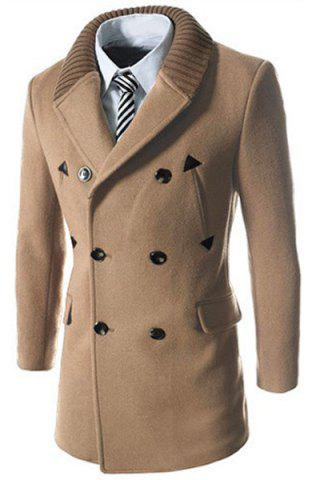Affordable Knitted Lapel PU Leather Spliced Multi-Button Slimming Long Sleeves Men's Woolen Blend Thicken Peacoat LIGHT CAMEL 2XL