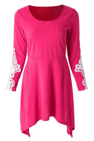Casual Scoop Neck Long Sleeve Lace Splicing Loose Fitting Dress For Women - Rose - Xl