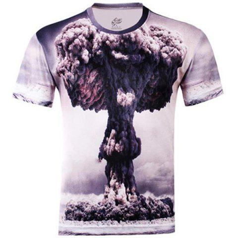 Affordable Stylish Slimming Round Neck 3D Mushroom Cloud Pattern Short Sleeve Cotton Blend T-Shirt For Men