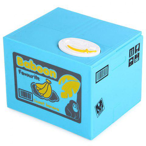 Online Innovative Stealing Coin Monkey Piggy Bank / Money Pot Birthday Gift for Coins Collection BLUE