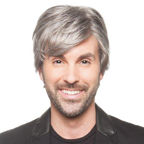 Shaggy Natural Straight Side Bang Trendy Short Capless Grey Heat Resistant Fiber Wig For Men - Grey