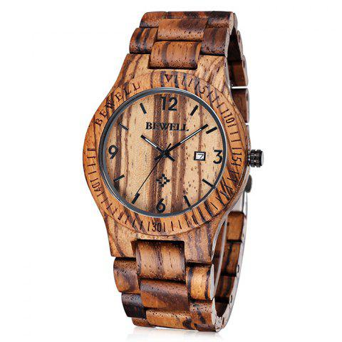 Outfit Bewell 2538 Japan Quartz Watch Date Display Maple Strap for Men