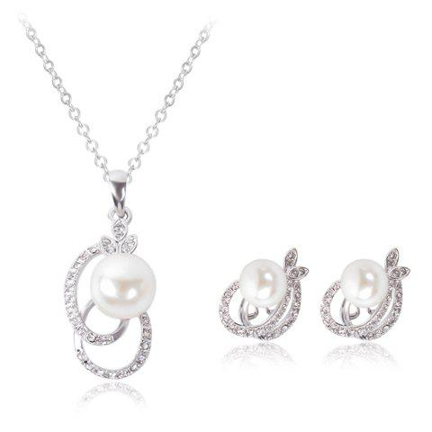 Outfits A Suit of Sweet Rhinestone Faux Pearl Hollow Out Oval Necklace and Earrings For Women