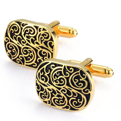 Discount Pair of Stylish Retro Carve Embellished Golden Alloy Cufflinks For Men