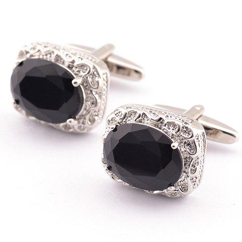 Sale Pair of Stylish Black Faux Gem and Rhinestone Inlay Embellished Cufflinks For Men BLACK