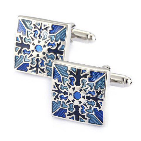 Fancy Pair of Stylish Retro Engraving Embellished Quadrate Cufflinks For Men