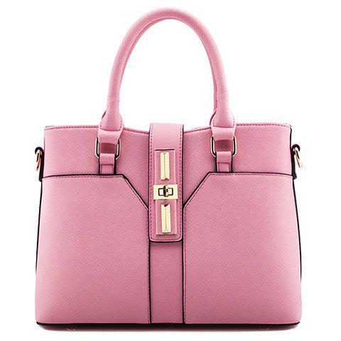 Shops Office Lady Hasp and Solid Color Design Women's Tote Bag