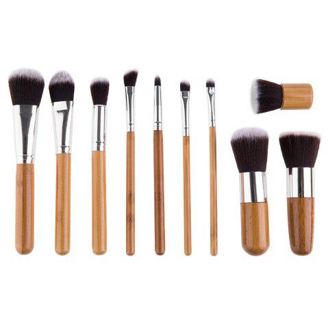 New 11 Pcs Wool Makeup Brush Set with Pure Color Pouch - AS THE PICTURE  Mobile