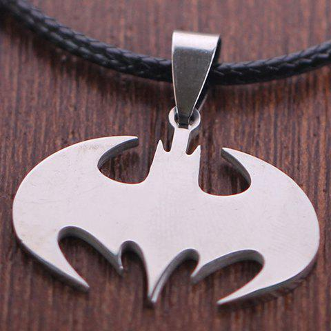 Trendy Stylish Solid Color Batman Logo Necklace SILVER