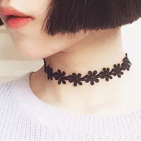Outfits Vintage Daisy Flower Lace Choker Necklace BLACK