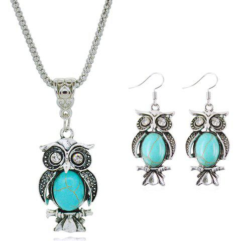 Fancy A Suit of Faux Turquoise Night Owl Necklace and Earrings
