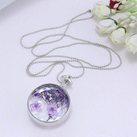 Trendy Delicate Round Lavender Specimens Floating Charm Necklace For Women