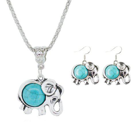 A Suit of Ethnic Faux Turquoise Elephant Necklace and Earrings - Turquoise
