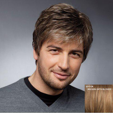 Affordable Towheaded Short Inclined Bang Straight Masculine Trendy Capless Human Hair Wig For Men - BROWN WITH BLONDE  Mobile