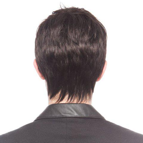 Chic Fluffy Straight Short Capless Fashion Black No Bang Heat Resistant Synthetic Men's Wig - BLACK  Mobile
