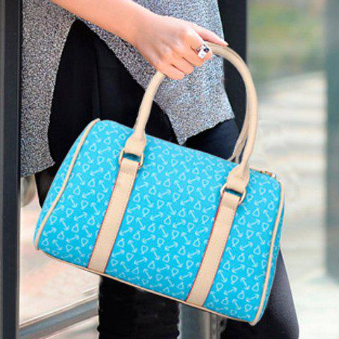 Fancy Stylish Print and Rivets Design Women's Shoulder Bag - AZURE  Mobile