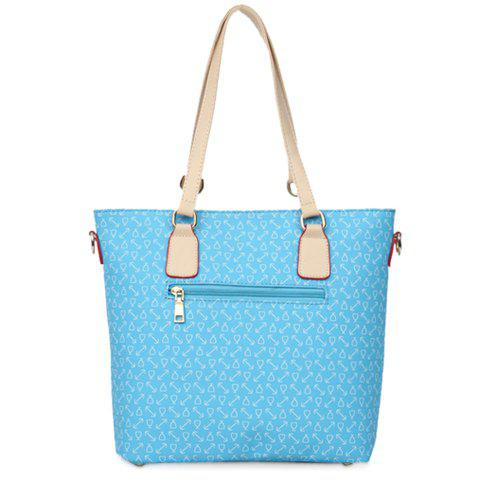 Fashion Stylish Print and Rivets Design Women's Shoulder Bag - AZURE  Mobile