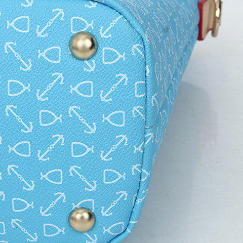 Trendy Stylish Print and Rivets Design Women's Shoulder Bag - AZURE  Mobile