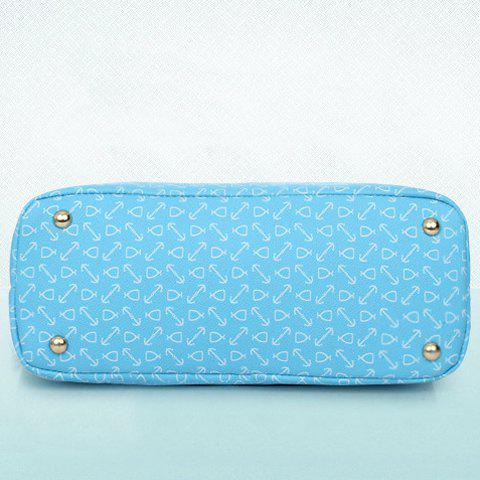 Affordable Stylish Print and Rivets Design Women's Shoulder Bag - AZURE  Mobile