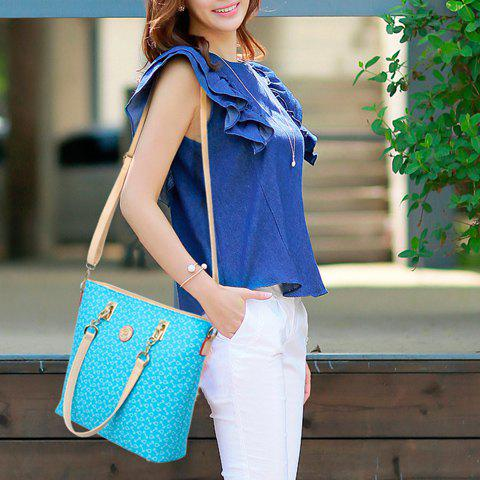Outfit Stylish Print and Rivets Design Women's Shoulder Bag - AZURE  Mobile