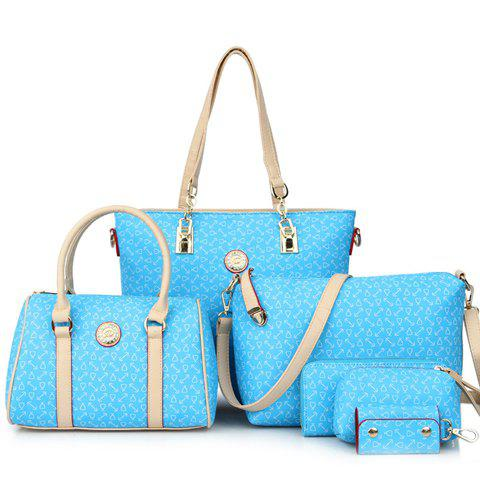 Shops Stylish Print and Rivets Design Women's Shoulder Bag - AZURE  Mobile
