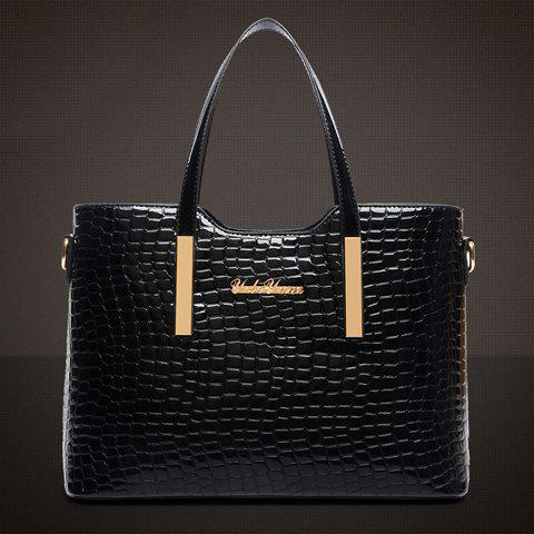 Outfit Stylish Patent Leather  and Crocodile Print Design Women's Tote Bag - BLACK  Mobile