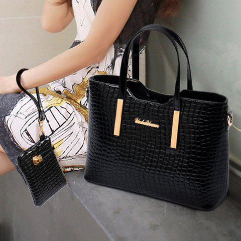 Online Stylish Patent Leather  and Crocodile Print Design Women's Tote Bag - BLACK  Mobile