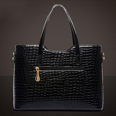 Affordable Stylish Patent Leather  and Crocodile Print Design Women's Tote Bag - BLACK  Mobile
