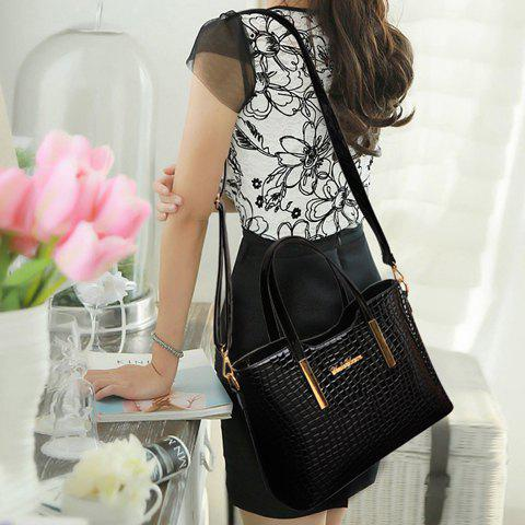Fancy Stylish Patent Leather  and Crocodile Print Design Women's Tote Bag - BLACK  Mobile