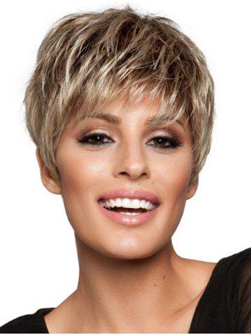 Outfit Sparkle Blonde Mixed Brown Capless Spiffy Short Side Bang Synthetic Wig For Women