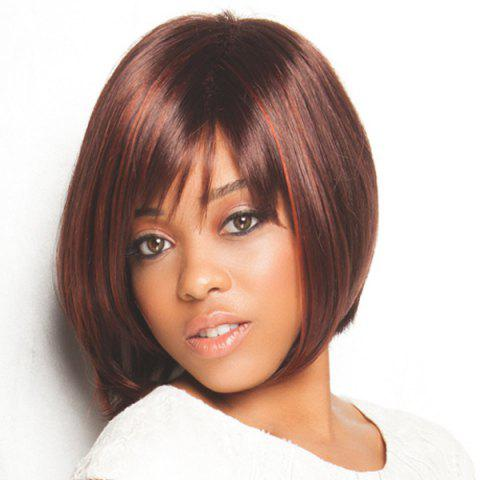 Online Charming Short Two-Tone Mixed Synthetic Straight Capless Inclined Bang Women's Wig