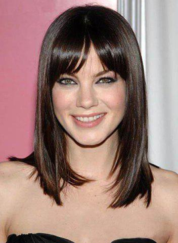 Affordable Charming Deep Brown Long Synthetic Trendy Side Bang Glossy Straight Capless Wig For Women
