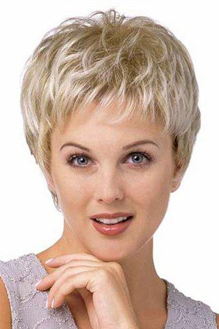 Fashion Vogue Full Bang Capless Two-Tone Mixed Synthetic Fluffy Natural Wavy Spiffy Ultrashort Women's Wig